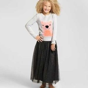 Girls Black & Gold Glitter Tulle Skirt